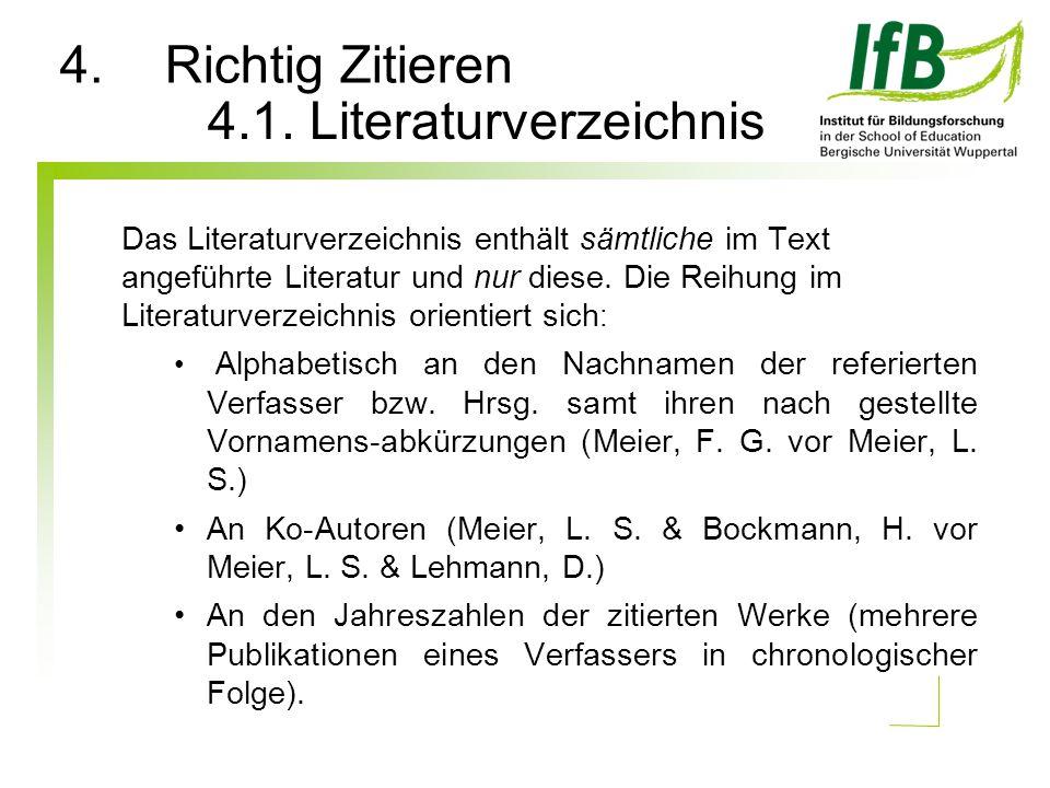 Das Literaturverzeichnis enthält sämtliche im Text angeführte Literatur und nur diese. Die Reihung im Literaturverzeichnis orientiert sich : Alphabeti