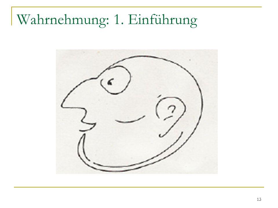 12 Wahrnehmung: 1. Einführung Beispiel: Vorwissen Beispiel: Kontext