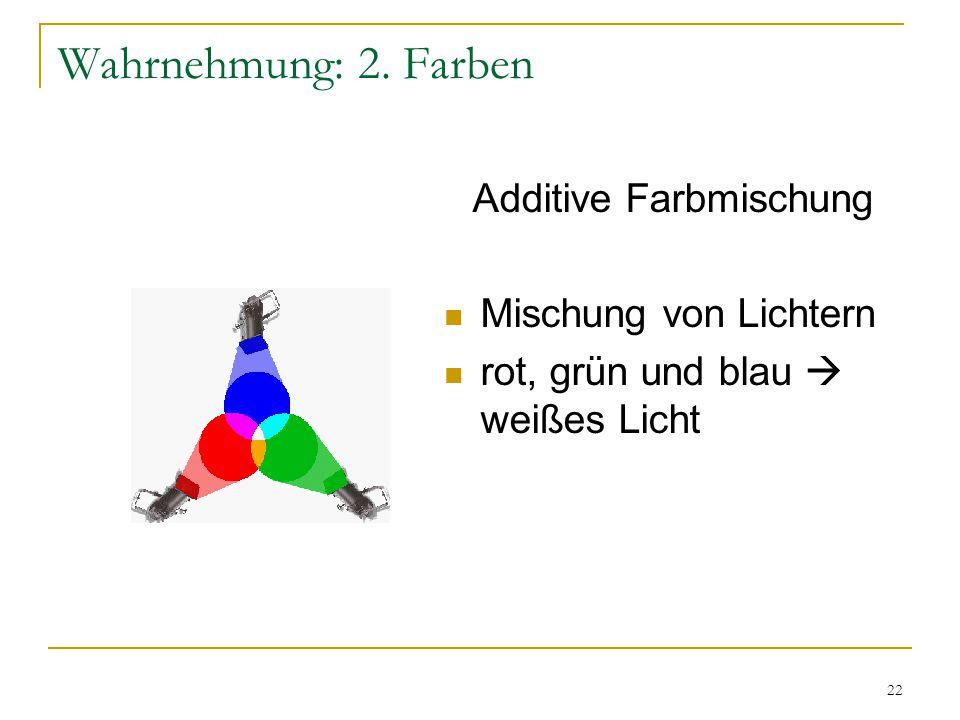 21 Wahrnehmung: 2. Farben Reflektierte Wellenlänge Wahrgenom- mene Farbe kurzBlau mittelGrün langRot