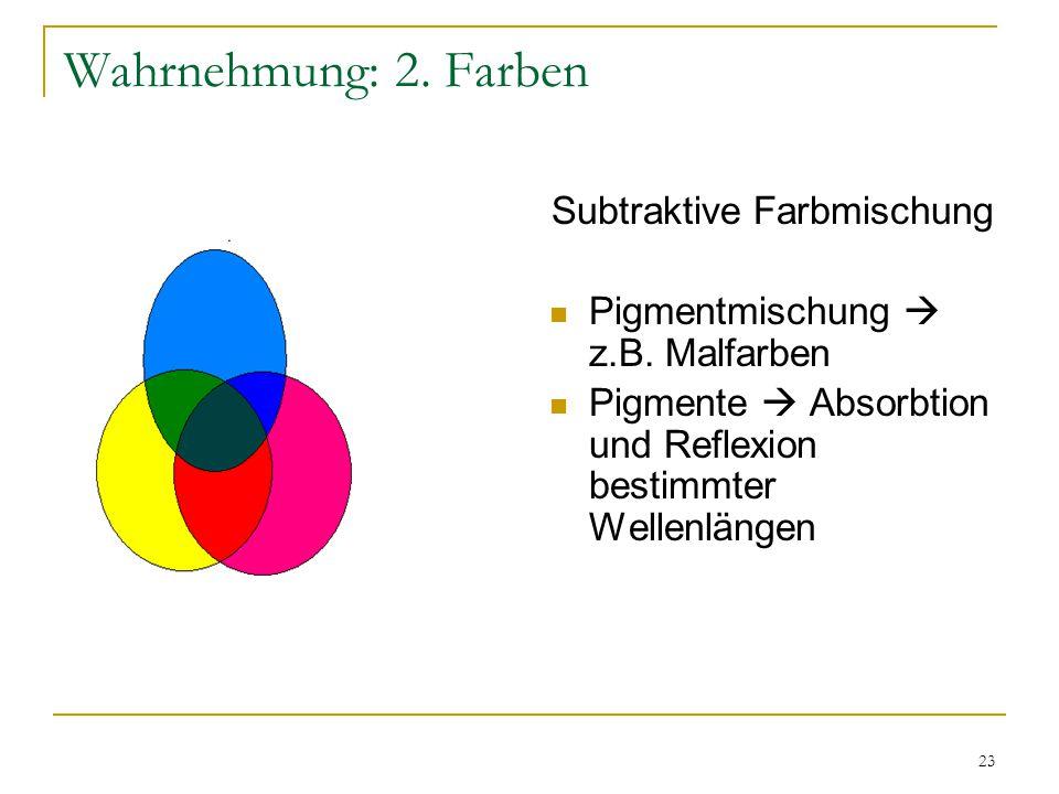 22 Wahrnehmung: 2. Farben Additive Farbmischung Mischung von Lichtern rot, grün und blau  weißes Licht