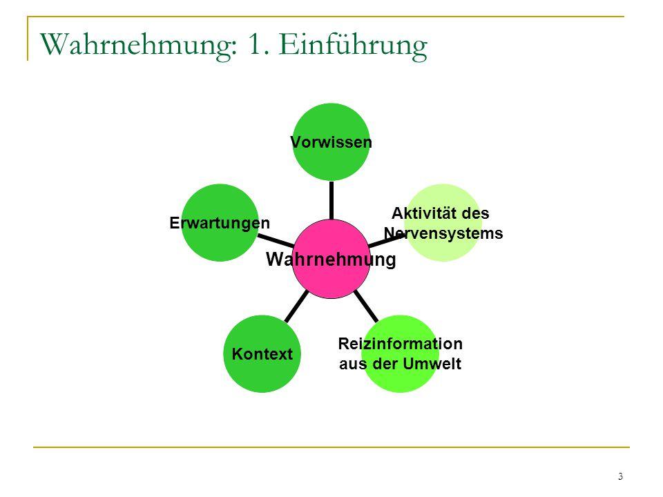 2 Wahrnehmung: Gliederung 1. Einführung 2. Farben 3. Figuren 4. Räumliche Tiefe 5. Zeit 6. Täuschungen 7. Fazit