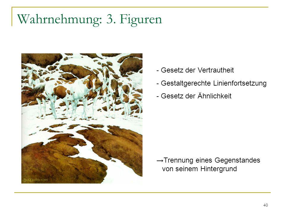 39 Wahrnehmung: 3. Figuren Anmerkungen / Kritik die Gestaltgesetze sind nützliche Werkzeuge zur Beschreibung der Wahrnehmung und ihrer Organisation di