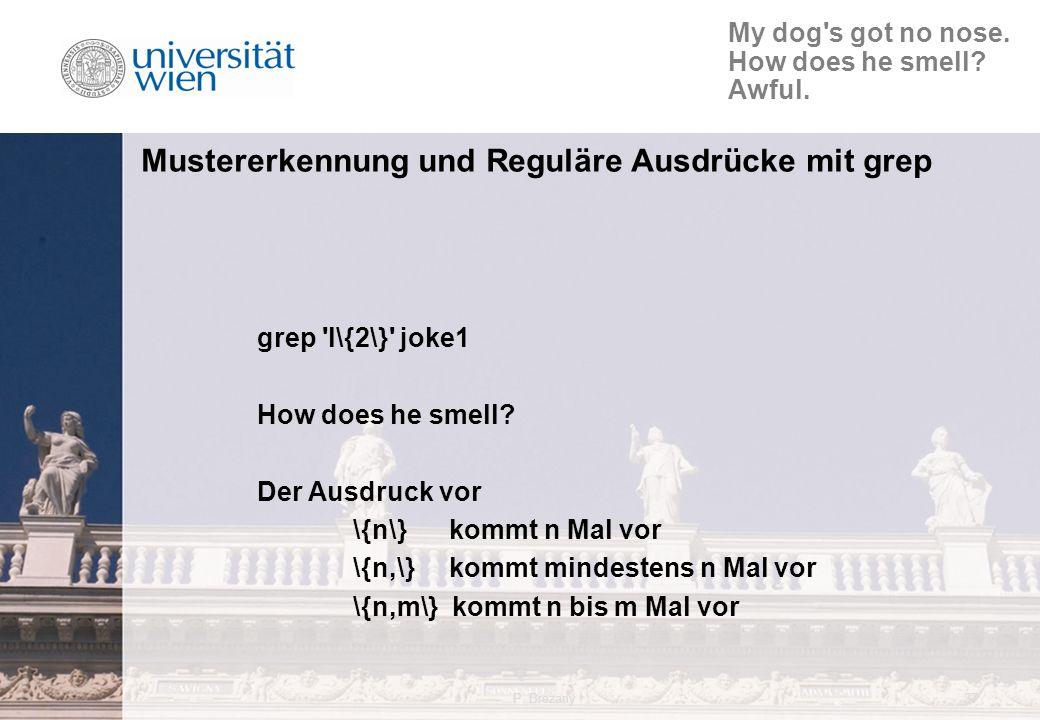 P. Brezany37 Mustererkennung und Reguläre Ausdrücke mit grep grep l\{2\} joke1 How does he smell.