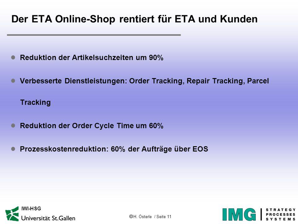 H. Österle / Seite 11 IWI-HSG Der ETA Online-Shop rentiert für ETA und Kunden l Reduktion der Artikelsuchzeiten um 90% l Verbesserte Dienstleistunge