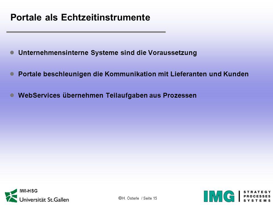  H. Österle / Seite 15 IWI-HSG Portale als Echtzeitinstrumente l Unternehmensinterne Systeme sind die Voraussetzung l Portale beschleunigen die Kommu