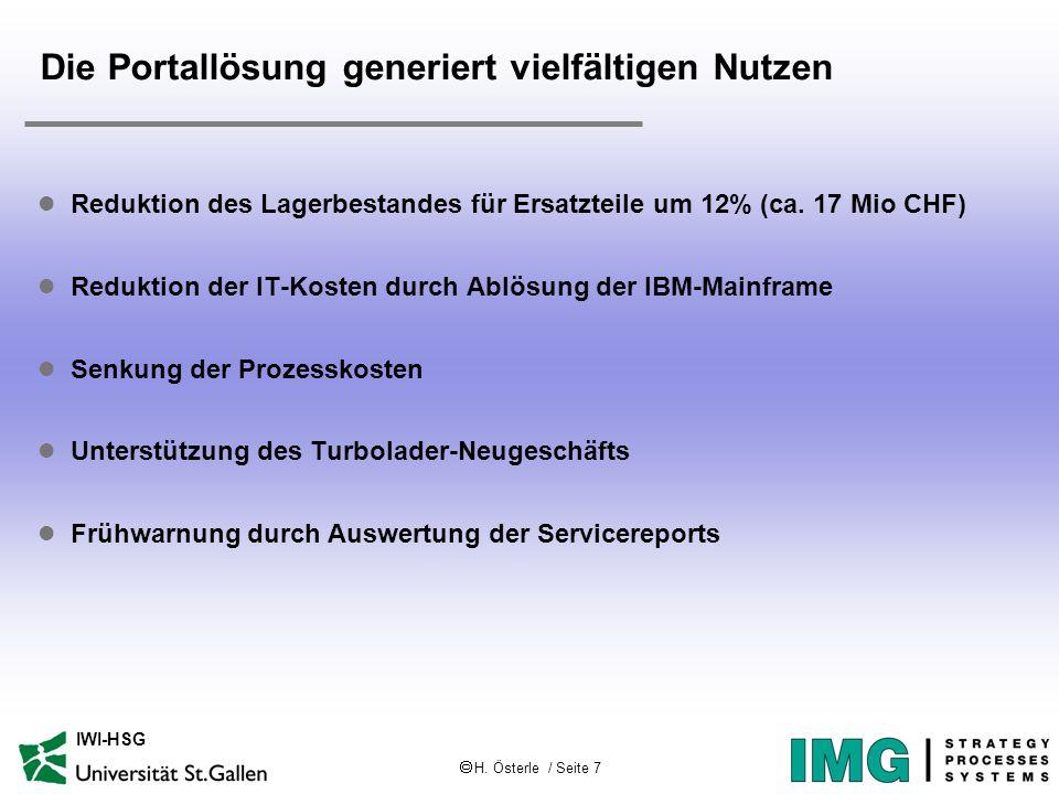  H. Österle / Seite 7 IWI-HSG Die Portallösung generiert vielfältigen Nutzen l Reduktion des Lagerbestandes für Ersatzteile um 12% (ca. 17 Mio CHF) l