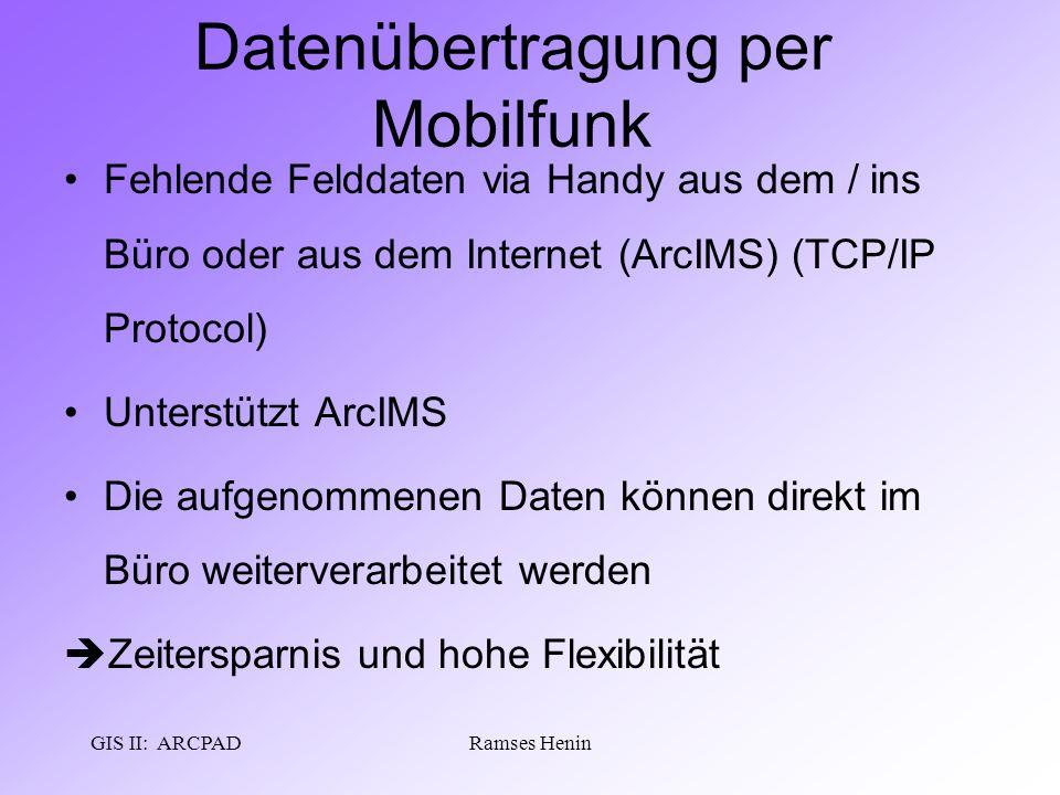 GIS II: ARCPADRamses Henin Datenübertragung per Mobilfunk Fehlende Felddaten via Handy aus dem / ins Büro oder aus dem Internet (ArcIMS) (TCP/IP Proto