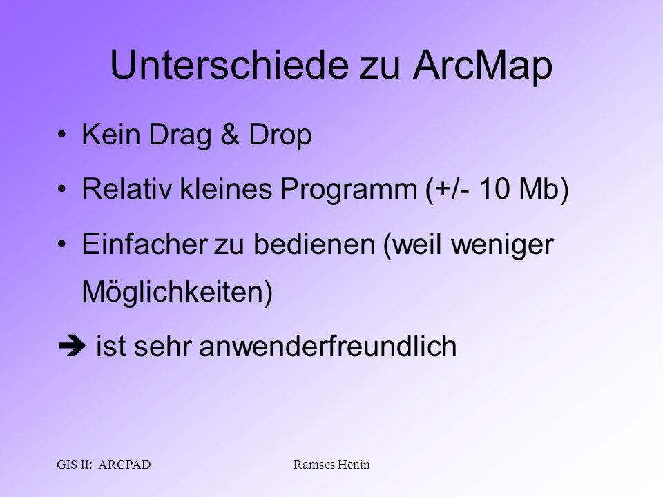 GIS II: ARCPADRamses Henin Unterschiede zu ArcMap Kein Drag & Drop Relativ kleines Programm (+/- 10 Mb) Einfacher zu bedienen (weil weniger Möglichkei