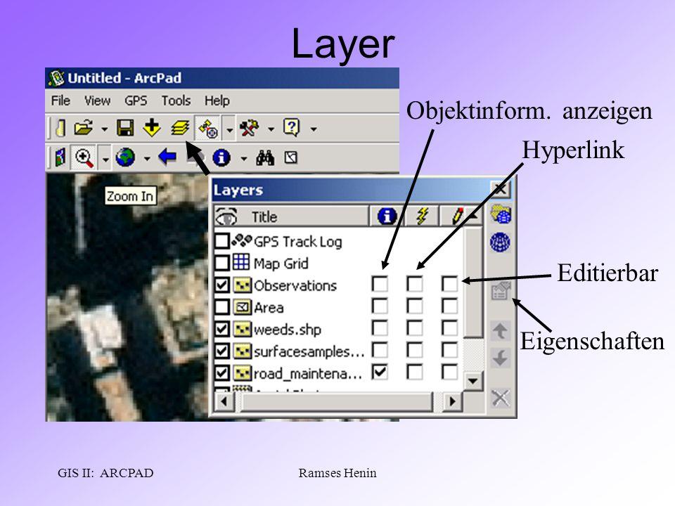 GIS II: ARCPADRamses Henin Layer Objektinform. anzeigen Hyperlink Editierbar Eigenschaften