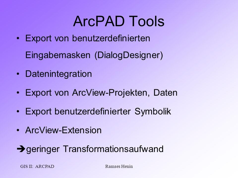GIS II: ARCPADRamses Henin ArcPAD Tools Export von benutzerdefinierten Eingabemasken (DialogDesigner) Datenintegration Export von ArcView-Projekten, D