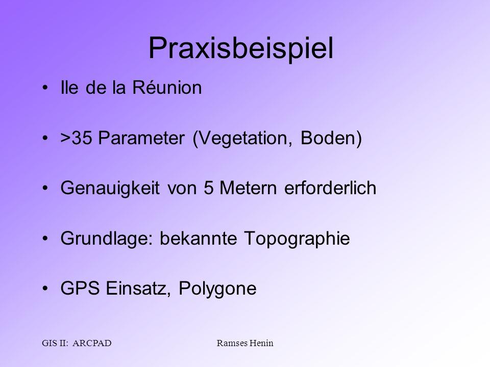 GIS II: ARCPADRamses Henin Praxisbeispiel Ile de la Réunion >35 Parameter (Vegetation, Boden) Genauigkeit von 5 Metern erforderlich Grundlage: bekannt