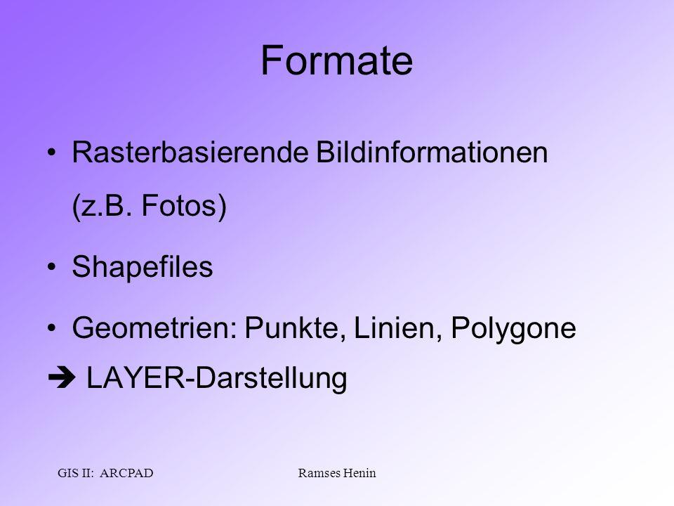 GIS II: ARCPADRamses Henin Formate Rasterbasierende Bildinformationen (z.B. Fotos) Shapefiles Geometrien: Punkte, Linien, Polygone  LAYER-Darstellung