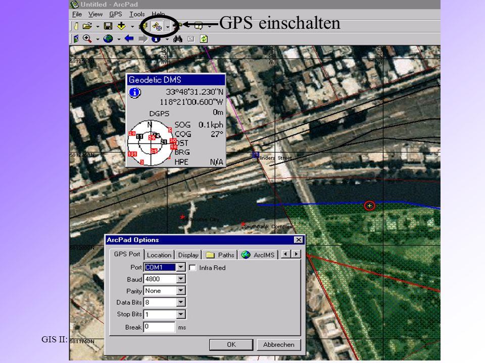 GIS II: ARCPADRamses Henin GPS einschalten