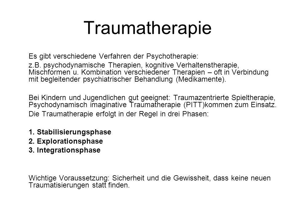 Traumatherapie Es gibt verschiedene Verfahren der Psychotherapie: z.B. psychodynamische Therapien, kognitive Verhaltenstherapie, Mischformen u. Kombin