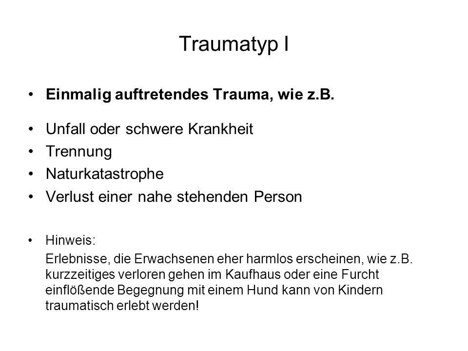 Traumatyp I Einmalig auftretendes Trauma, wie z.B. Unfall oder schwere Krankheit Trennung Naturkatastrophe Verlust einer nahe stehenden Person Hinweis