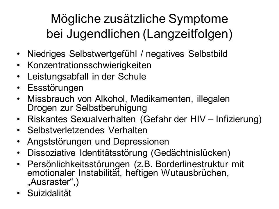 Mögliche zusätzliche Symptome bei Jugendlichen (Langzeitfolgen) Niedriges Selbstwertgefühl / negatives Selbstbild Konzentrationsschwierigkeiten Leistu