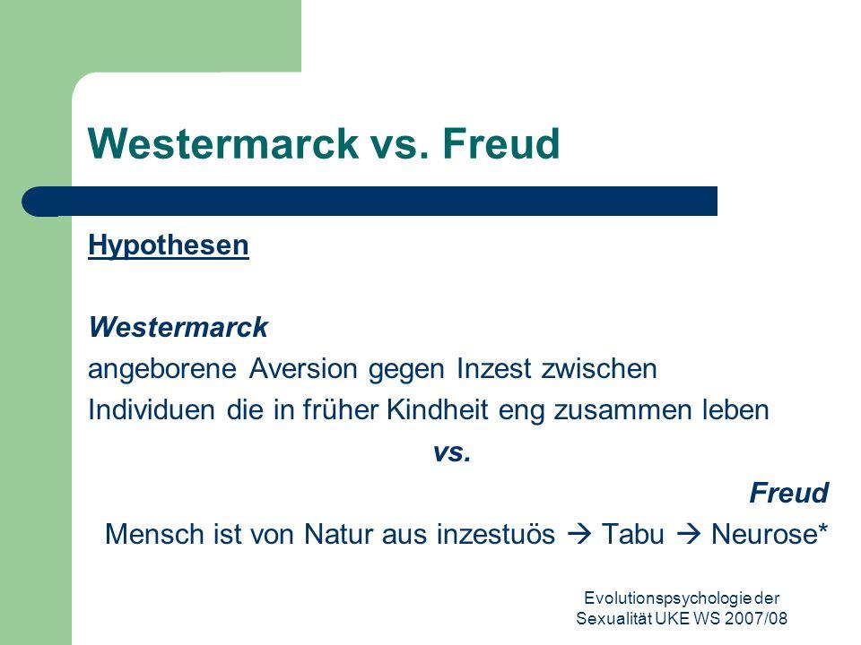 Evolutionspsychologie der Sexualität UKE WS 2007/08 Westermarck vs. Freud Hypothesen Westermarck angeborene Aversion gegen Inzest zwischen Individuen