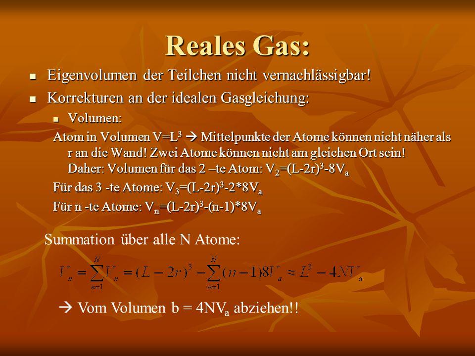 Reales Gas: Eigenvolumen der Teilchen nicht vernachlässigbar! Eigenvolumen der Teilchen nicht vernachlässigbar! Korrekturen an der idealen Gasgleichun