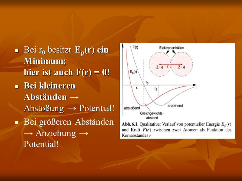 Bei r 0 besitzt E p (r) ein Minimum; hier ist auch F(r) = 0! Bei r 0 besitzt E p (r) ein Minimum; hier ist auch F(r) = 0! Bei kleineren Abständen Abst