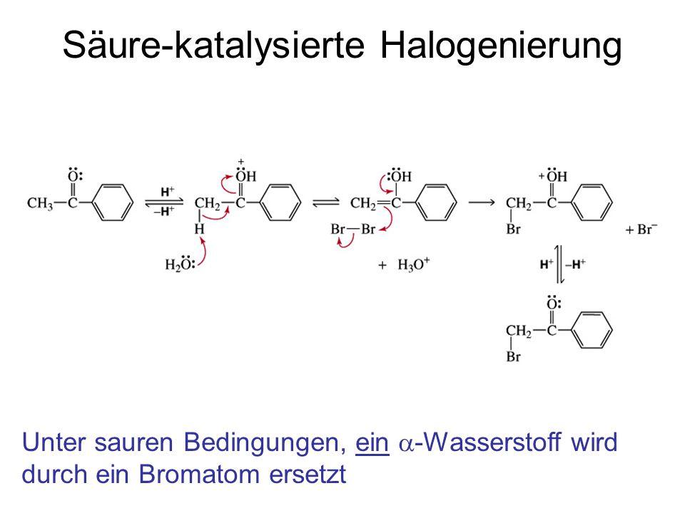 Säure-katalysierte Halogenierung Unter sauren Bedingungen, ein  -Wasserstoff wird durch ein Bromatom ersetzt