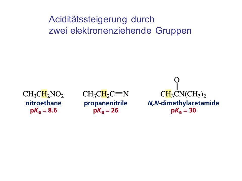 Aciditätssteigerung durch zwei elektronenziehende Gruppen
