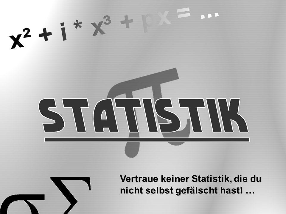 Statisti Vertraue keiner Statistik, die du nicht selbst gefälscht hast! …