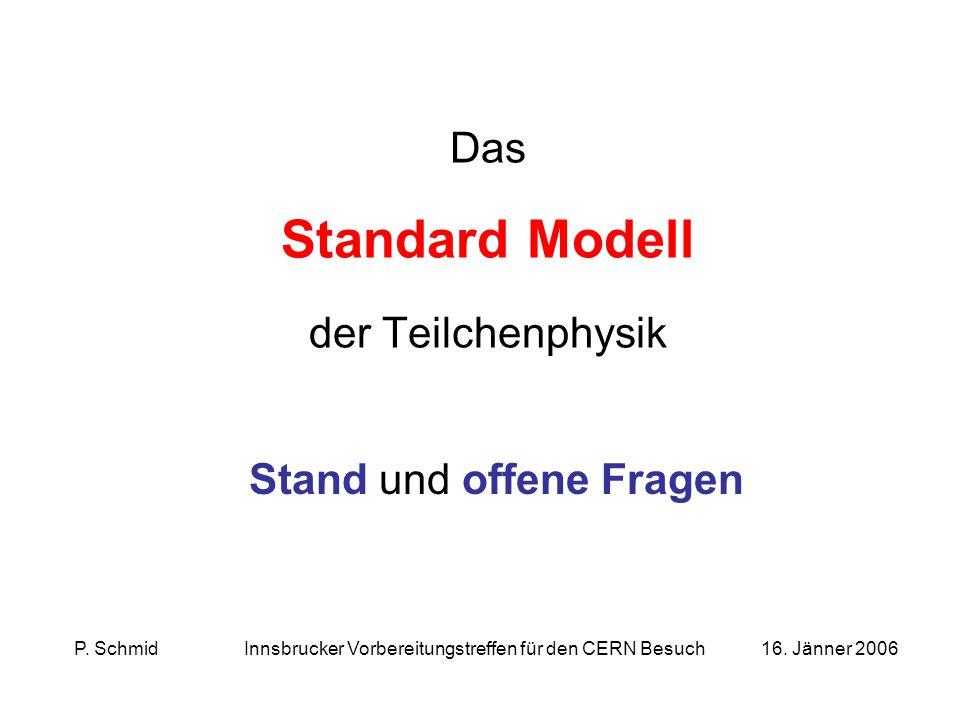 Das Standard Modell der Teilchenphysik Stand und offene Fragen P.