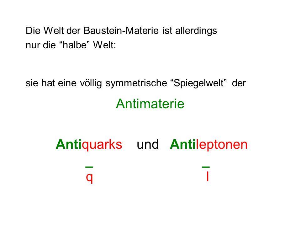 Die Welt der Baustein-Materie ist allerdings nur die halbe Welt: sie hat eine völlig symmetrische Spiegelwelt der Antimaterie Antiquarks und Antileptonen _ _ ql