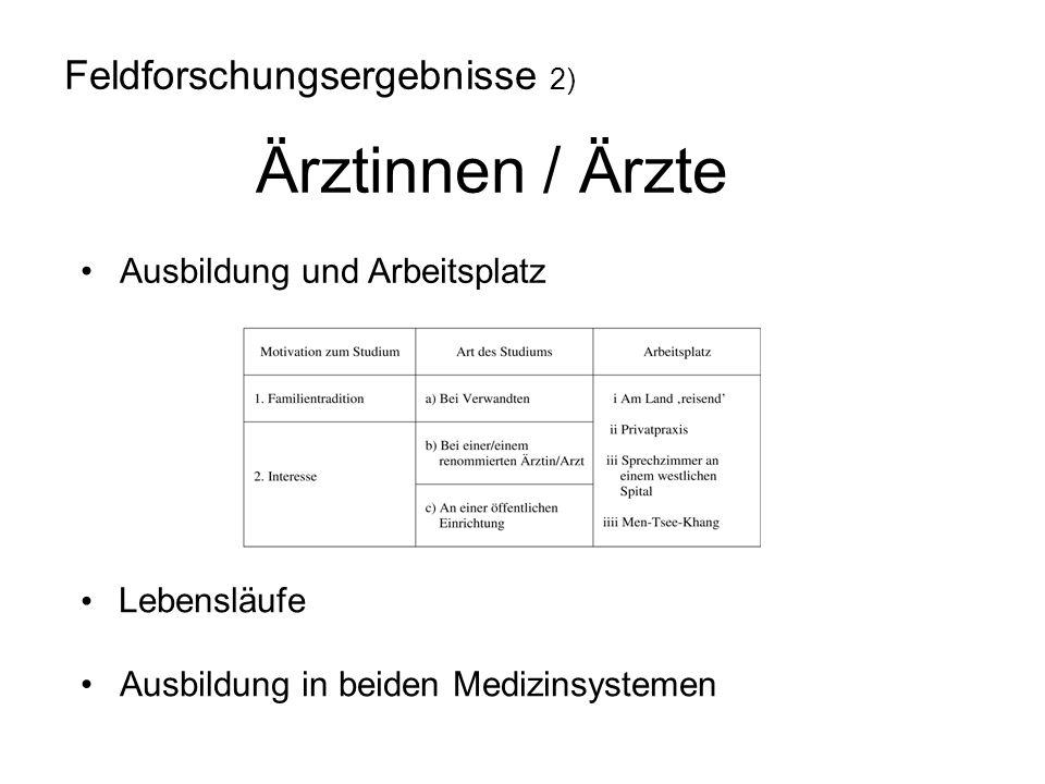 Feldforschungsergebnisse 2) Ärztinnen / Ärzte Ausbildung und Arbeitsplatz Lebensläufe Ausbildung in beiden Medizinsystemen