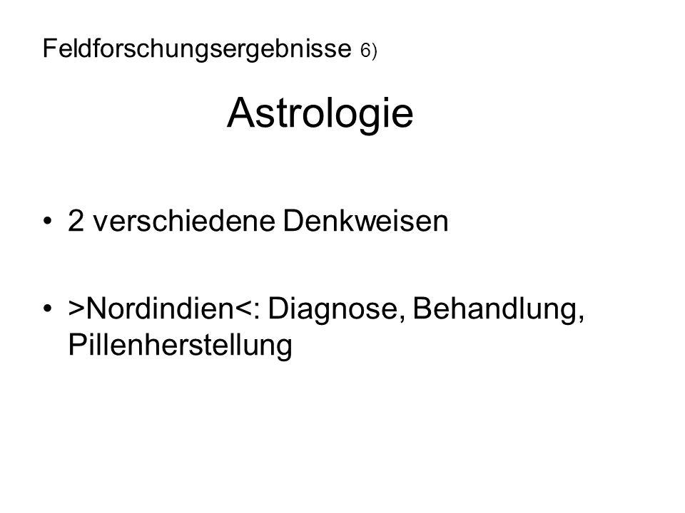 2 verschiedene Denkweisen >Nordindien<: Diagnose, Behandlung, Pillenherstellung Feldforschungsergebnisse 6) Astrologie