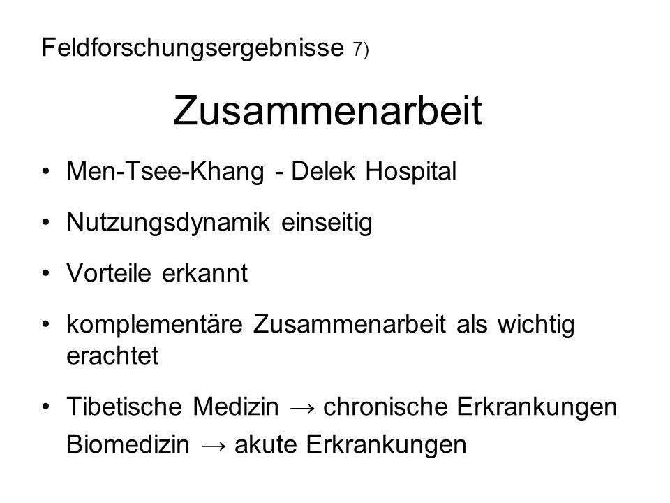 Men-Tsee-Khang - Delek Hospital Nutzungsdynamik einseitig Vorteile erkannt komplementäre Zusammenarbeit als wichtig erachtet Tibetische Medizin → chro