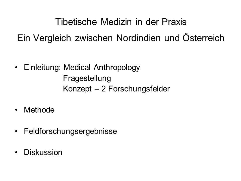 Tibetische Medizin in der Praxis Ein Vergleich zwischen Nordindien und Österreich Einleitung: Medical Anthropology Fragestellung Konzept – 2 Forschung
