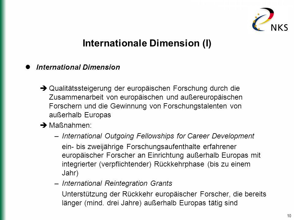 10 Internationale Dimension (I) International Dimension  Qualitätssteigerung der europäischen Forschung durch die Zusammenarbeit von europäischen und