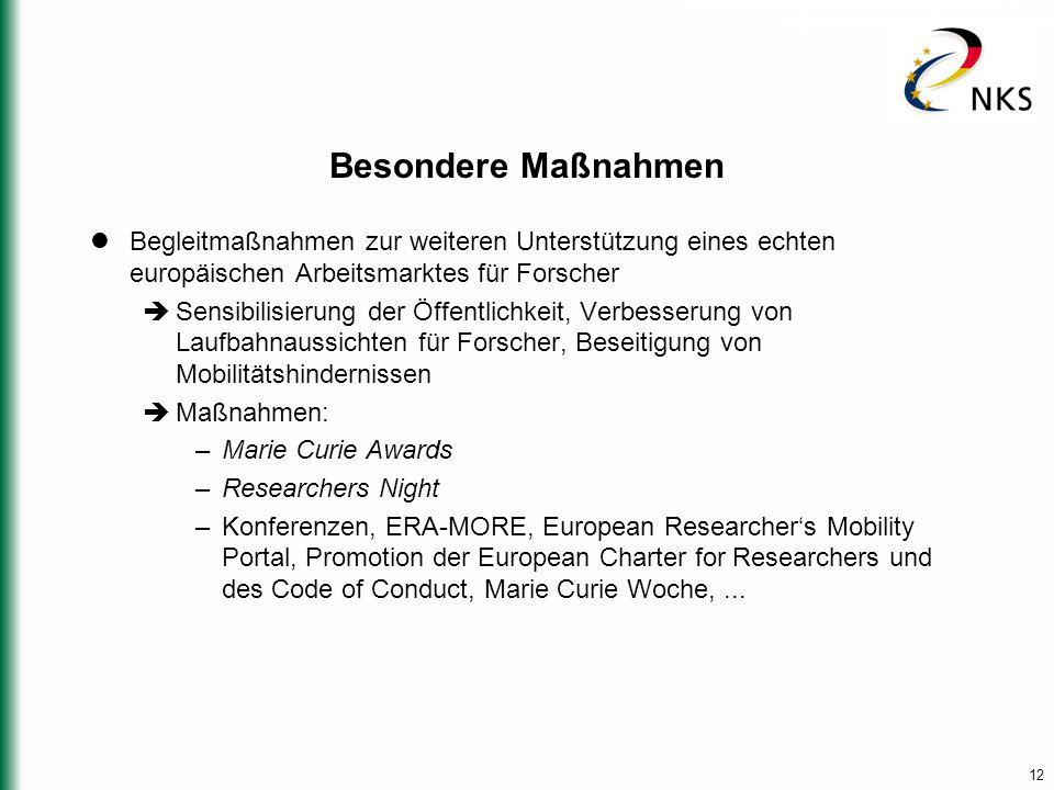 12 Besondere Maßnahmen Begleitmaßnahmen zur weiteren Unterstützung eines echten europäischen Arbeitsmarktes für Forscher  Sensibilisierung der Öffent