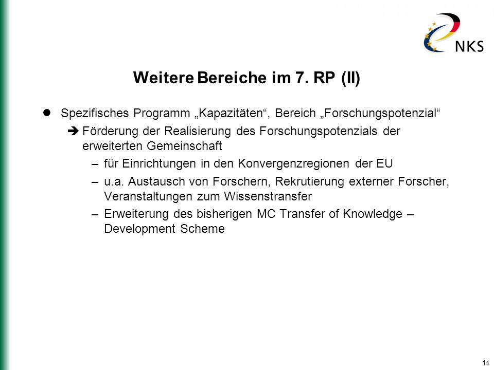 """14 Weitere Bereiche im 7. RP (II) Spezifisches Programm """"Kapazitäten"""", Bereich """"Forschungspotenzial""""  Förderung der Realisierung des Forschungspotenz"""