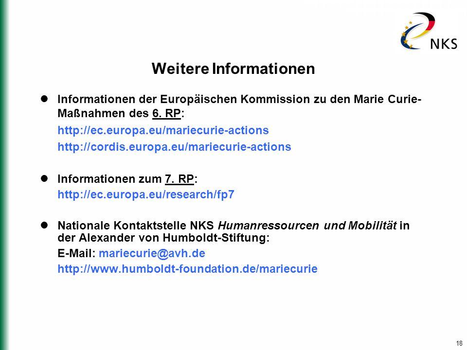 18 Weitere Informationen Informationen der Europäischen Kommission zu den Marie Curie- Maßnahmen des 6. RP: http://ec.europa.eu/mariecurie-actions htt