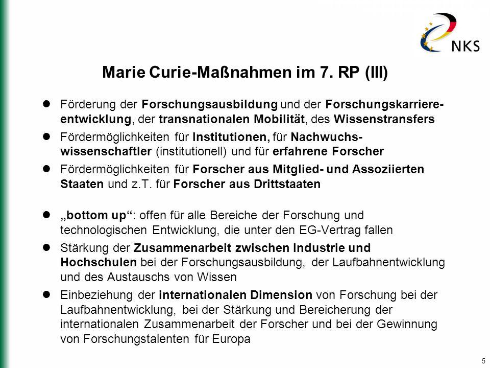 5 Marie Curie-Maßnahmen im 7.