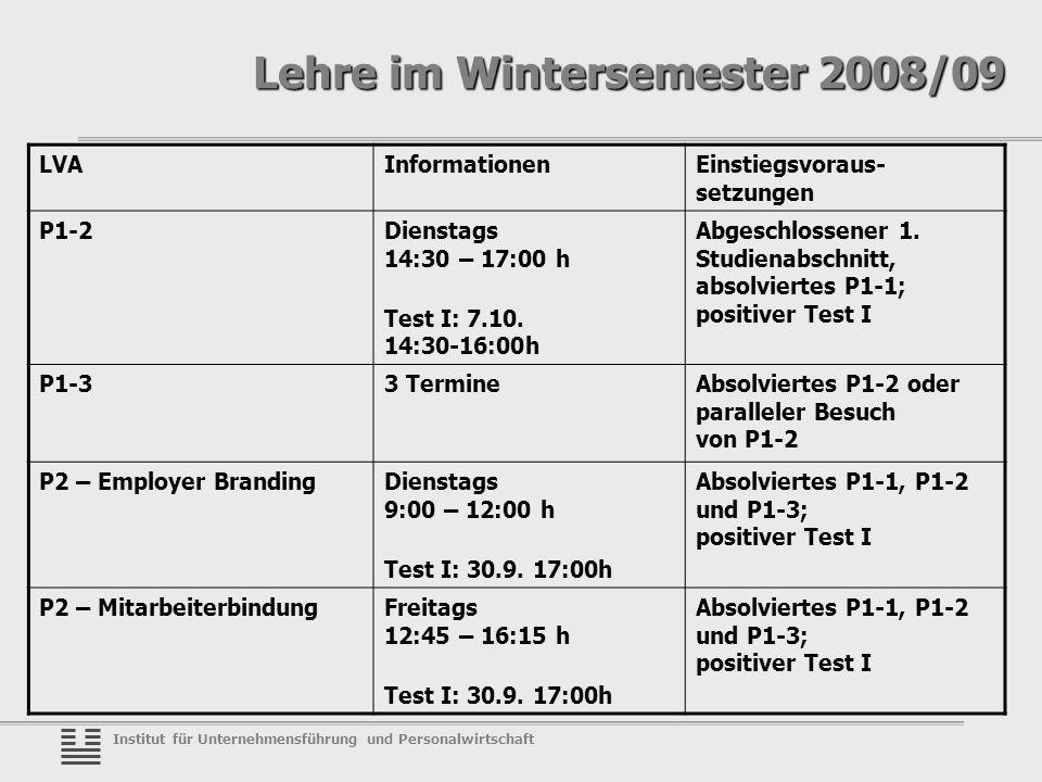 Institut für Unternehmensführung und Personalwirtschaft Lehre im Wintersemester 2008/09 LVAInformationenEinstiegsvoraus- setzungen P1-2Dienstags 14:30 – 17:00 h Test I: 7.10.