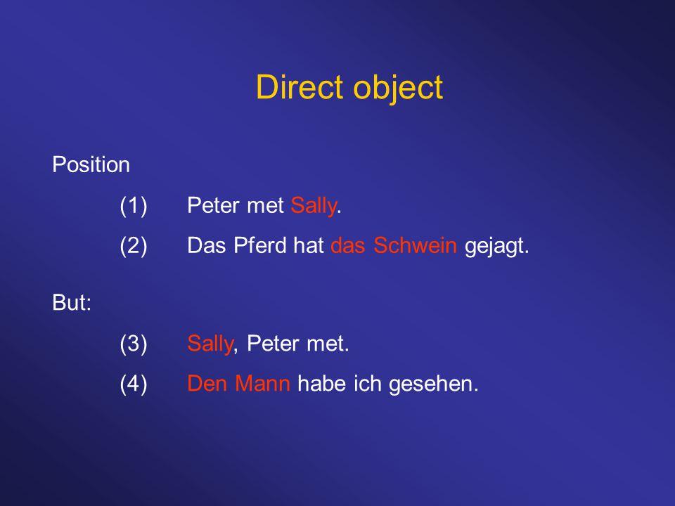 Direct object Position (1)Peter met Sally. (2)Das Pferd hat das Schwein gejagt. But: (3)Sally, Peter met. (4)Den Mann habe ich gesehen.
