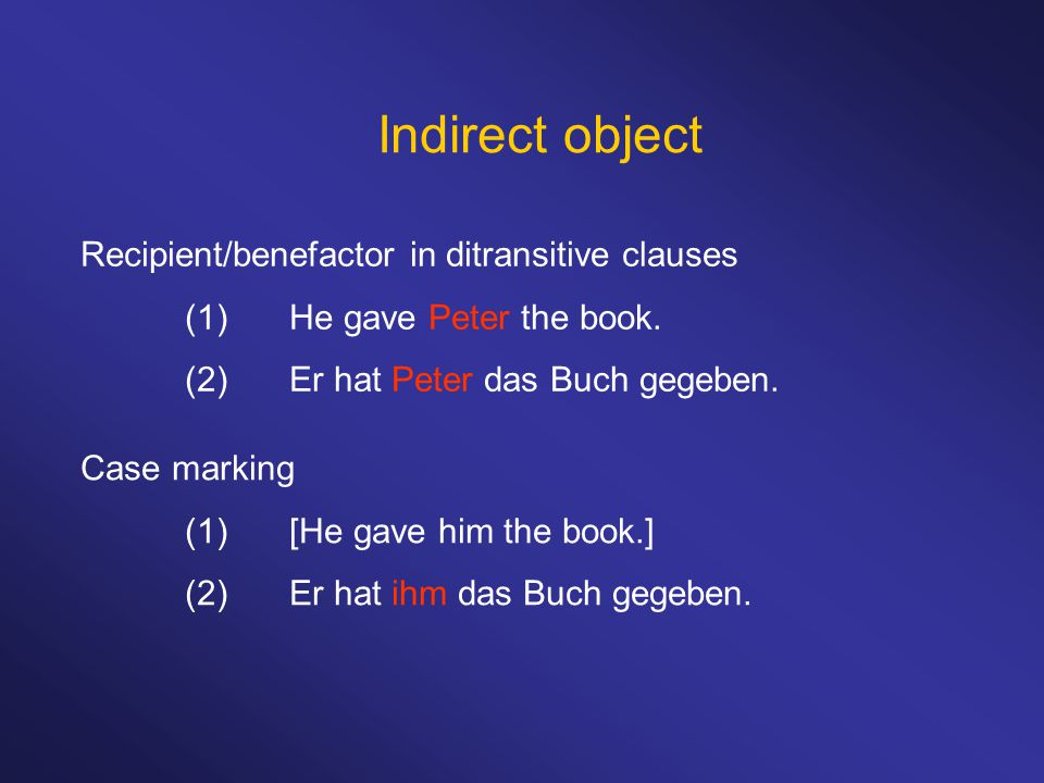 Indirect object Recipient/benefactor in ditransitive clauses (1)He gave Peter the book.