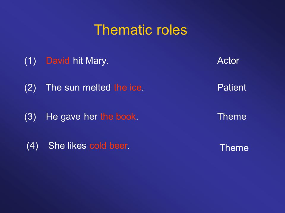 (1) David hit Mary. Thematic roles (2) The sun melted the ice.