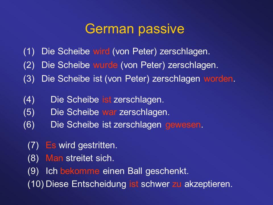 (1)Die Scheibe wird (von Peter) zerschlagen. (2)Die Scheibe wurde (von Peter) zerschlagen. (3)Die Scheibe ist (von Peter) zerschlagen worden. German p