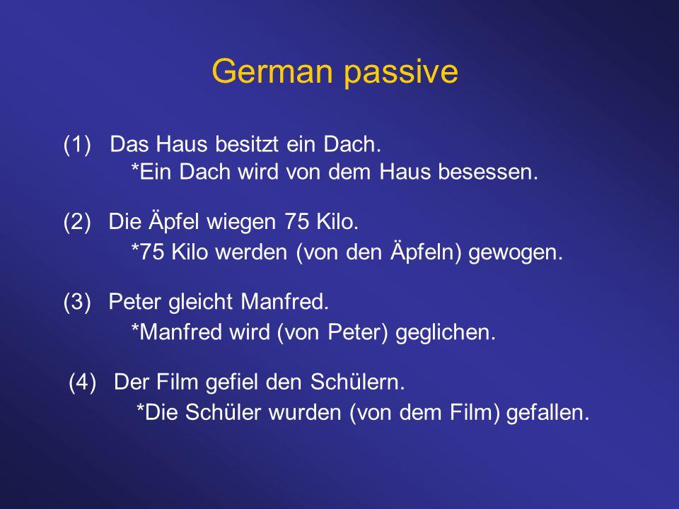 German passive (2)Die Äpfel wiegen 75 Kilo. *75 Kilo werden (von den Äpfeln) gewogen. (1) Das Haus besitzt ein Dach. *Ein Dach wird von dem Haus beses