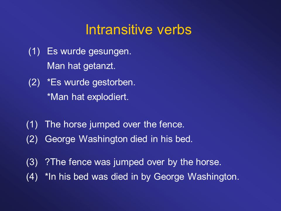 Intransitive verbs (1)The horse jumped over the fence.