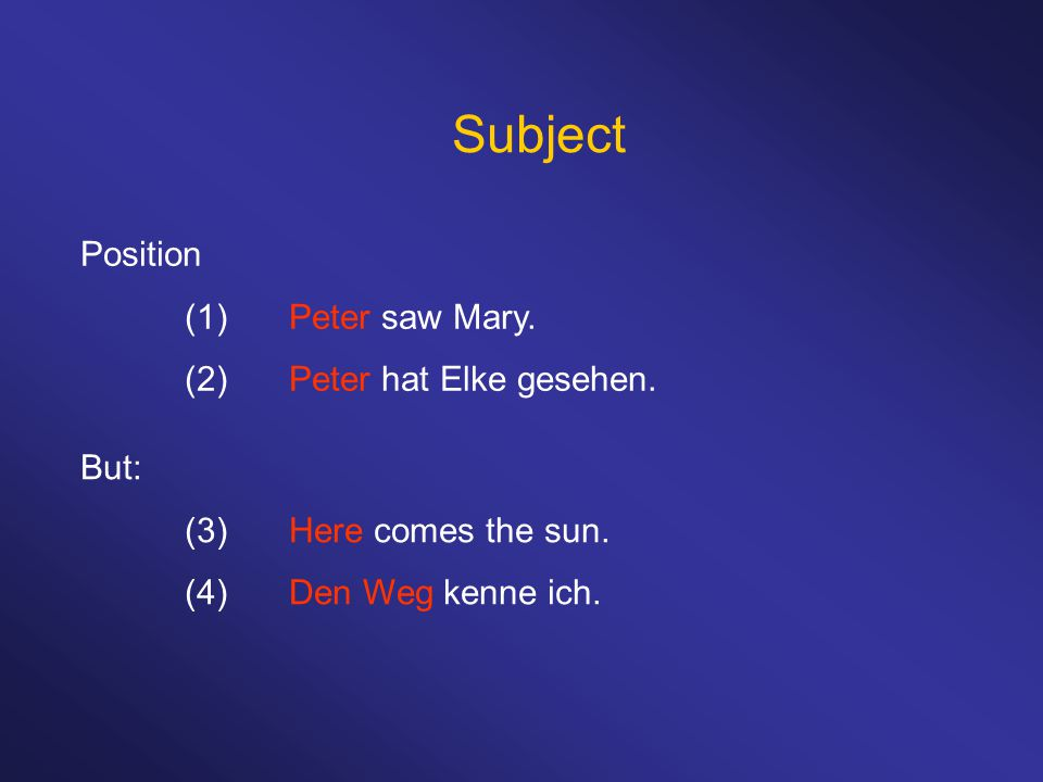 Subject Position (1)Peter saw Mary. (2)Peter hat Elke gesehen.