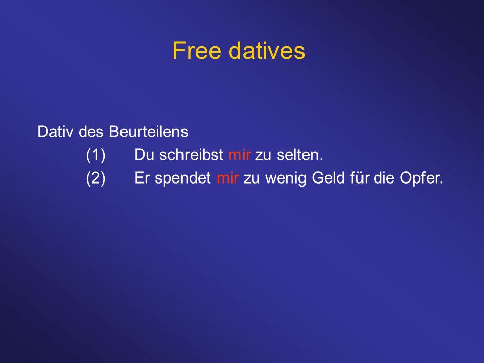 Free datives Dativ des Beurteilens (1)Du schreibst mir zu selten. (2)Er spendet mir zu wenig Geld für die Opfer.