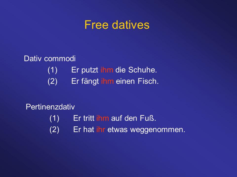 Free datives Dativ commodi (1)Er putzt ihm die Schuhe. (2)Er fängt ihm einen Fisch. Pertinenzdativ (1)Er tritt ihm auf den Fuß. (2)Er hat ihr etwas we