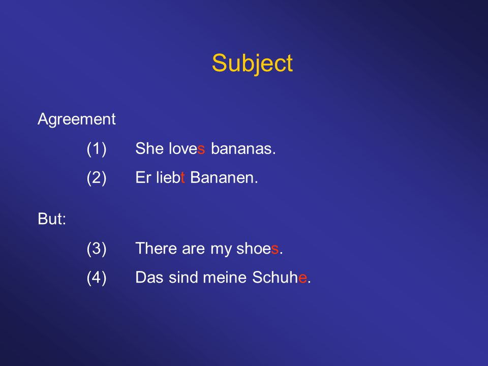 Subject Agreement (1)She loves bananas. (2)Er liebt Bananen.