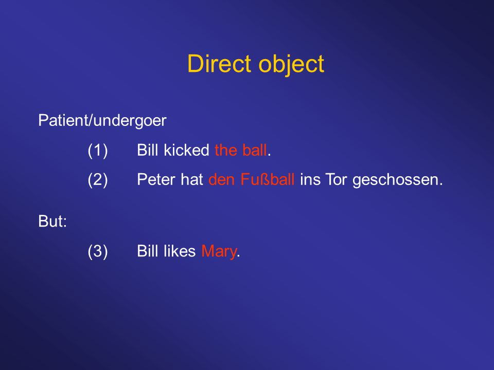 Direct object Patient/undergoer (1)Bill kicked the ball.