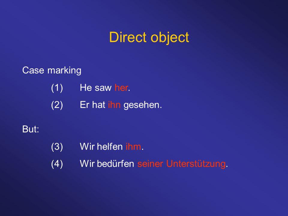 Direct object Position (1)Peter met Sally.(2)Das Pferd hat das Schwein gejagt.